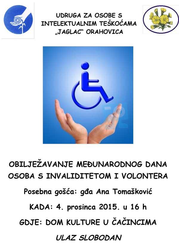 Međunarodni dan osoba s invaliditetom i Međunarodni dan volontera – POZIVNICA